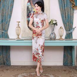 011ccbd9b 4Colors Chinese Traditional Costumes Women Tight Bodycon Dress Cheongsam  Tang Suit Floral Print Split Dress Sexy Kimono Qipao
