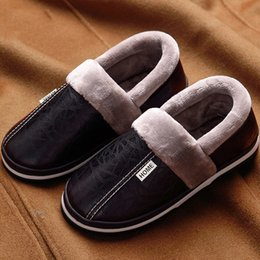 $enCountryForm.capitalKeyWord Australia - Winter House Slippers Men Leather Plush Male Shoes Waterproof Plus Size 11.5-15 Anti Dirty Warm Slippers Package Non-slip T8190617