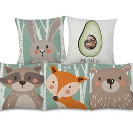 wholesale fox cushion covers UK - Caroon Racoon Fox Bear Avocado Cat Forest Tree Cushion Covers Kids Favor Beige Linen Pillow Case Bedroom Sofa Decoration