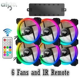 AIGO DR12 RGB 6pcs Boîtier PC Ventilateur De Refroidissement RVB Ajuster LED 120mm Silencieux + IR À Distance Nouvel ordinateur Refroidisseur Boîtier de Ventilation en Solde