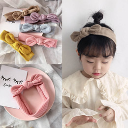 baby knitted headbands NZ - Lovely Baby Girls Headband Solid Color Knitted Twisted Knotted Elastic Hair Band Turban Striped Baby Girls Hair Accessories