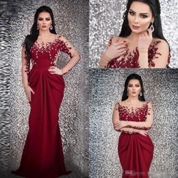 Pink long crystal Prom dress online shopping - Burgundy Arabic Mermaid Long Evening Dresses Sheer Long Sleeves Beaded Stones Sweep Train Formal Prom Party Dresses