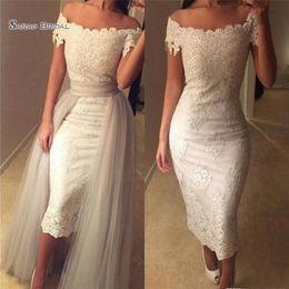3f6eeaccb26a2 Black white tea length wedding gown online shopping - 2019 Boho Beach Sheath  Wedding Dresses Tea