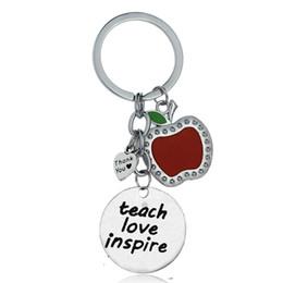 $enCountryForm.capitalKeyWord Australia - 12PC Wholesale Heart Teach Love Inspire Thank You Red Apple Pendant Keyring Keychain For Teacher's Day Gift Family Friend Charm
