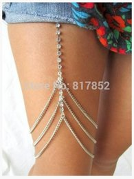 $enCountryForm.capitalKeyWord NZ - FREE SHIPPING STYLE L009 SILVER PLATED SILVER RHINESTONE LEG CHAINS THREE LAYERS THIGH CHAINS BODY JEWELRY 3 COLORS
