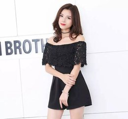 korean sweater pants Australia - 2019 Summer suit new style lace shoulder-wrapped shuttle sweater Korean version of pants and shorts