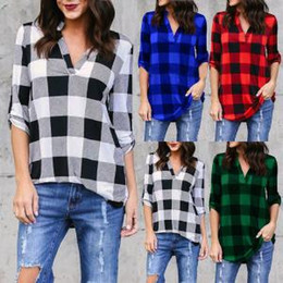 Fashion blouse top online shopping - Women Plaid Shirt Ladies loose Blouse V Neck long sleeve outwear plaid jackets Plus Size Fashion tops home clothing GGA1552