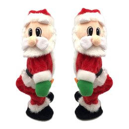 santa claus cartoons for kids NZ - Happy New Year 2020 Christmas Gifts for Kids Toy Electric Plush Doll Crafts Music Box Merry Christmas Santa Claus Decoration