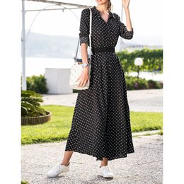 $enCountryForm.capitalKeyWord Canada - Women Casual Polka Dot Boho Single Breasted Buttons Floor Length Dress With Sashes Ladies Sexy Split Long Sleeve Dress SJ3026U