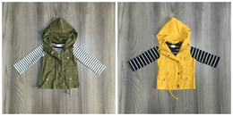 long sleeve baby vests NZ - fall winter baby girls cotton long sleeve top t-shirt mustard olive vests and stripe tops hoodie raglans children clothes coat V191112