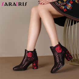 kids party shoes size NZ - SARAIRIS Brand Big Size 34-43 Luxury Kid Suede Ladies High Heels Embroider Shoes Woman Casual Party Autumn Winter Ankle Boots