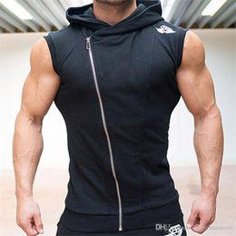 Zipper Tanks Australia - Mens Stringer Bodybuilding Tank Top fitness vest Solid Gym Cotton Singlet Tanks Fitness Clothes Zipper Tanks Wholesale Free Shipping