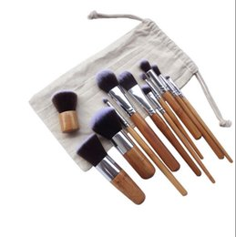 $enCountryForm.capitalKeyWord Australia - Makeup Brushes Make up Wooden Bamboo 11pcs Professional Cosmetic Brush Kit Fiber Hair With Draw String Bag Eyeshadow Foundation Shade Tools