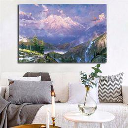 $enCountryForm.capitalKeyWord Australia - Thomas Kinkade Mountain Paradise Poster Canvas Painting Oil Framed Wall Art Print Pictures For Living Room Modern Home Decoracion Framework
