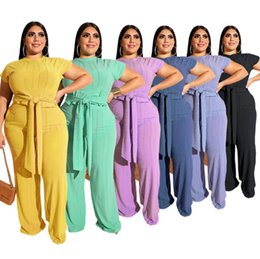 $enCountryForm.capitalKeyWord Australia - Women solid color two piece set short sleeve bandage t shirt loose pants designer summer fall clothing fashion casual long pants suit 1335