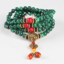 Malachite Bracelets Australia - Sennier 8mm 108 Malachite Stone Beads Bracelet Tibetan Buddha Prayer Meditation Bracelets Women Green Stone Necklace Y19051002