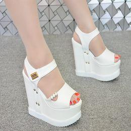 $enCountryForm.capitalKeyWord Australia - 2018 summer new wedge 15 cm nightclub sexy thick-soled Muffin sandals super high heel women's sandals simple elegant high heels