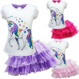 4152e7de0afa4 Unicorn girl T-shirt Dress set cartoon printed Lace Tutu Fashion summer Cute  Princess Party birthday Dress Fancy Costume FFA1512