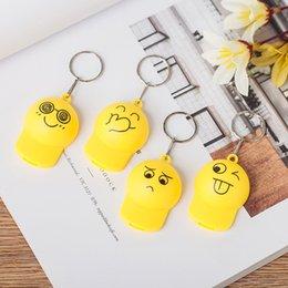 Emoji Party Decorations Australia - LED Cartoon Emoji Hat Keychain Flash Luminous Key Ring Bag Pendant Halloween Christmas Party Decoration W9229