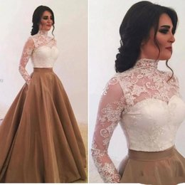 gown pockets red carpet UK - Elegant High Neck Long Sleeve Evening Dresses with Pockets Saudi Arabia Lace Appliques Prom Gowns Special Occasion Dress 2020