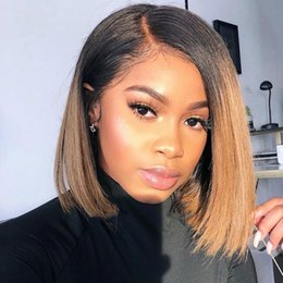 $enCountryForm.capitalKeyWord Australia - Brazilian Virgin Hair Glueless Full Lace Ombre Wig Bob Style Two Tone 1B 30 Human Hair Bob Wig Lace Front Wigs For Women