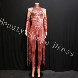 Costumes Female Singer Ds Australia - DJ DS Dress Glisten Crystals Red Jumpsuit Sexy Long Tassel Women Outfit Nightclub Female Singer Costume Stage Dance DS Performance Clothing
