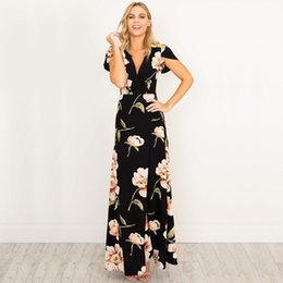 cadb3c30308 Women Retro Black Dresses V-neck Maxi Dress Floral Printed Party Dress  Mother Of Bride Dresses Female Vestidos Ws647c Y19051001