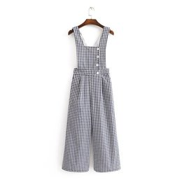 d7b9bc765501 Vintage Checkered Button Pockets Wide Straps Jumpsuits Women Nice New  Fashion Side Zipper Lady Rompers Casual Body Feminino CH2