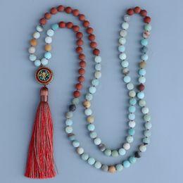 $enCountryForm.capitalKeyWord NZ - Edothalia 8mm Matte Red Stone & Amazonite Stone Nepal Mala Knotted Bead Long Necklace Women Meditation Jewelry Gift J190711