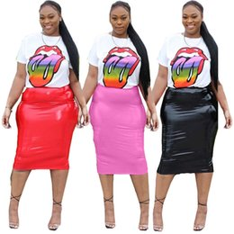 $enCountryForm.capitalKeyWord Australia - Women Designer Sports Suit T-shirt+Skirts Two Piece Sets Tracksuit Sportswear PU Skirts Slim Leather Dresses Summer HOT Selling DHL 1295