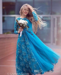 mother bride lace dresses ruffles Australia - 2020 Turquoise Long Sleeve Bridal Evening Dresses Sparkly Beading Tulle Lace Crew Neck Plus Size Mother of the Bride Dress Arabic Prom Gowns