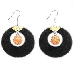 a18a372d9 European Exaggerated Big Circle Hoop Earrings for Women Jewelry Simple  Velvet Fur Round Brincos Boho Statement Pendientes