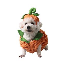Pumpkin Suit Costumes Australia - Dog Clothes Fleece Plush Halloween Party Pet Clothes Carnival Warm Halloween Pumpkin Three-dimensional Costume Dog Cosplay Suits