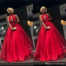 Red Dress Skirt Cheap Australia - Cheap Red Prom Dresses 2019 A Line Halter Plus Size Organza Skirt Black Girls 2K19 Couple Fashion Backless Formal Evening Party Gowns