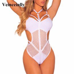 White One Piece Suit NZ - 2019 Summer New Fashion Hot Sale Sexy Women Hollow Out White Mesh Bather Bathing Suit Swim One Piece Swimsuit