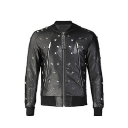 leather hip hop coat Australia - P9305 Fashion Bomber Jacket Winter Men Leather Jacket Hip Hop Men's Pilot Long Sleeve Skulls Leather Solid Motorcycle Male Jackets Coat
