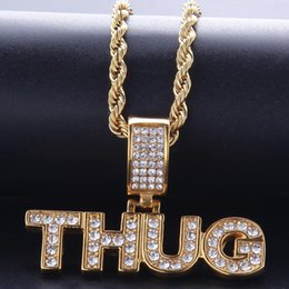 $enCountryForm.capitalKeyWord NZ - THUG Letter Pendant Necklace Ice Out Stainless Steel Jewelry Necklace For Men Cool Gold Plated Hiphop Jewellery