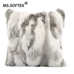 rabbit fur pillows UK - MS.Softex Genuine Rabbit Fur Pillow Case Patchwork Pillow Cover Natural Fur Cushion Cover Home Decoration FREE SHIPPING T200601