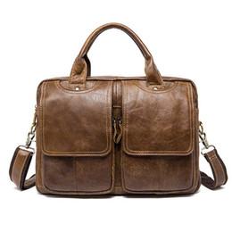 $enCountryForm.capitalKeyWord NZ - Messenger Bag Men's shoulder bag Genuine Leather male Bags Men's Briefcase Laptop 14'' Tote Crossbody Bags for men 8002