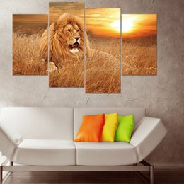 3d Art Landscape Mural Australia - 4pcs set 3D African Lion Combination Wall Stickers Home Decor Living Room Wall Decals Self-adhesive DIY Art Mural Animal Poster