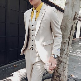 Korean blacK wedding dresses online shopping - mens suits designers wedding suits for men piece coat pants slim fit korean groomsmen suit wedding dress contracted