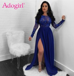 night club dress slits Australia - Adogirl 2018 Sexy Open Back See Through Sequins Night Club Dress O Neck Long Sleeve High Slit Maxi Evening Party Dresses Vestido