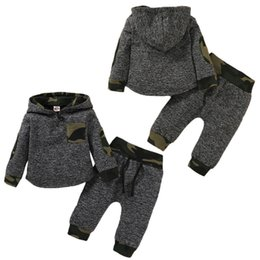 sports hoodie vest Australia - 2Pcs Infant Baby Girls Camo Hoodies Tracksuit Gym Outfits Top Pants Sports Set