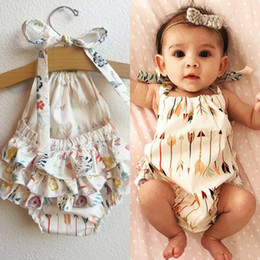 Wholesale rompers grey for sale – dress 3 Styles Ins Newborn Boy Girl Cotton Sling Romper Clothing Tassel Jumpsuit Arrow Print Suspender Rompers Kids Todders Clothes M1637