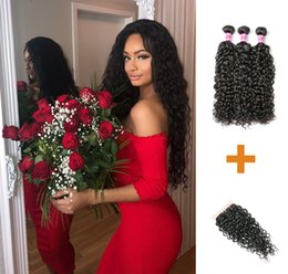 Discount human hair pieces for women - 9A Brazilian Virgin Hair Water Wave 3 Bundles With Closure Human Hair Weave Bundles With Lace Closure Perstar For Black