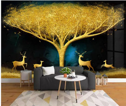 $enCountryForm.capitalKeyWord NZ - modern wallpaper walls Light luxury gold foil fortune tree family deer living room wall