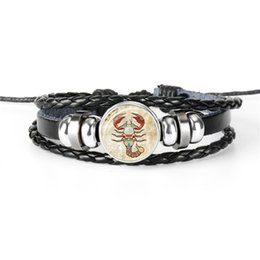 $enCountryForm.capitalKeyWord Australia - Braided Leather Rope Beaded Bracelet Bangles 12 Constellations Zodiac Scorpio Time Gem Glass Cabochon Jewelry Girlfriend Boyfriend Best Gift