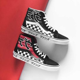 93eb5e61ca Vans old skool sk8 hi Reissue Japanese Type women canvas mens sneakers  black white red blue fashion skate casual shoes Trainers Size 36-44