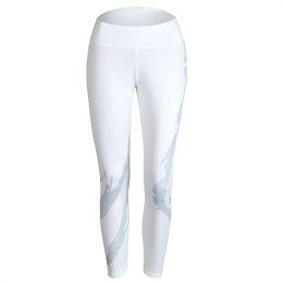 $enCountryForm.capitalKeyWord UK - 2018 New Women Elastic waistband Yoga pants with Mesh Panels High Waisted Moto Leggings in White Sport Yoga Leggings Drop ship #180461