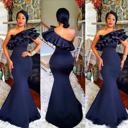 $enCountryForm.capitalKeyWord Australia - Cheap Navy One Shoulder Mermaid Ruffles Satin Floor Length Evening Dresses Beautiful Cocktail Pageant Gowns Custom Made Evening Gowns